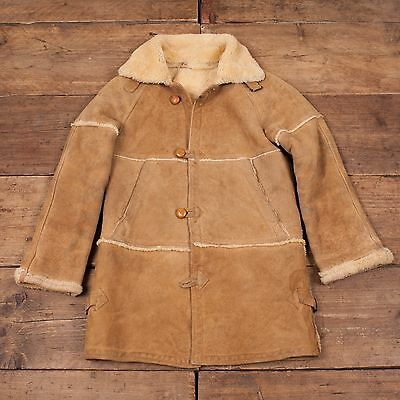 Children's Vintage Sheepskin Shearling Lined Leather Jacket 136cm 11 Yrs R5066