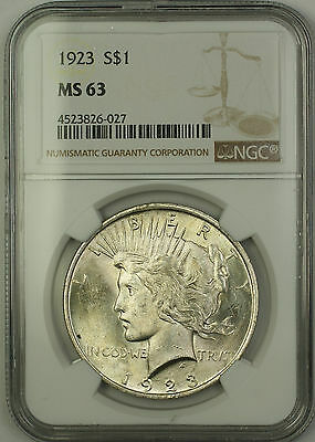1923 Silver Peace Dollar $1 Coin NGC MS-63 (15a)