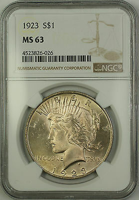 1923 Silver Peace Dollar $1 Coin NGC MS-63 Lightly Toned (15b)