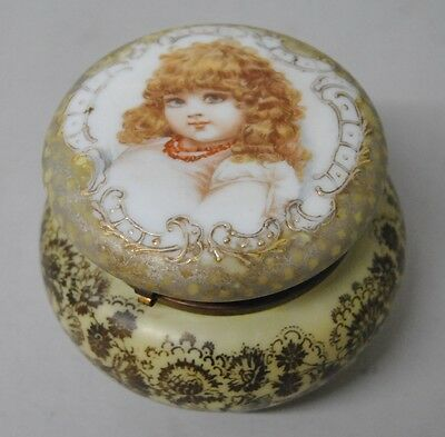 Antique Victorian Flip Top Art Glass Vanity Jar with Portrait of Young Girl