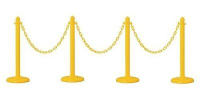 Crowd Control Center PLASTIC STANCHION IN YELLOW + 32' CHAIN, 4 PCS w/ C-Hook