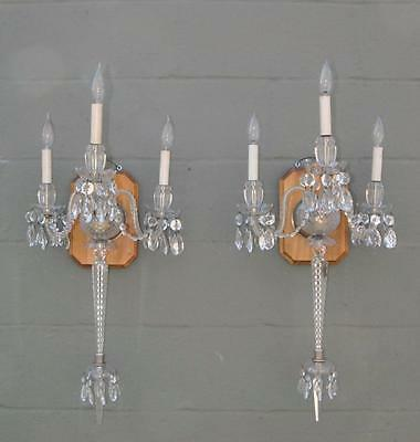 Pair Overscale Crystal and Cut Glass Three Arm Electric Wall Sconces Circa 1940'