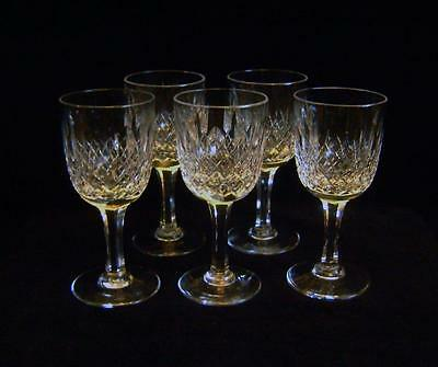 "Set 5 Webb Crystal Sherry / Port glasses 4 3/4"" high Faceted Stem cut diamonds"