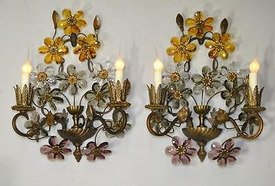 Pair of Antique French Bronze Two Light Wall Sconces with 12 Cut Crystal Flowers