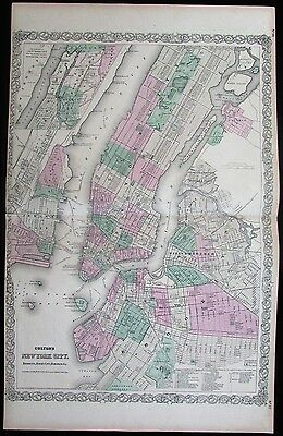 New York City Central Park Manhattan Brooklyn 1873 antique large city plan map