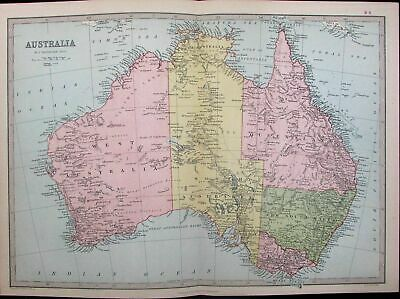 Australia Queensland New South Wales Sydney Melbourne 1882 antique color map