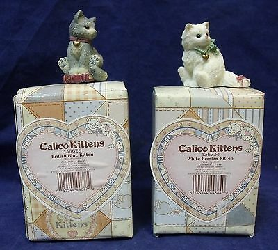 Lot of 2 Enesco Calico Kittens (British Blue and White Persian)