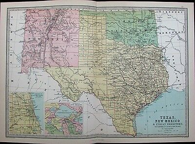Texas Oklahoma Indian Territory Chicago New Orleans 1882 antique color map