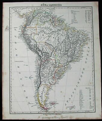 Sud South America Brazil Patagonia continent c.1849 antique detailed German map