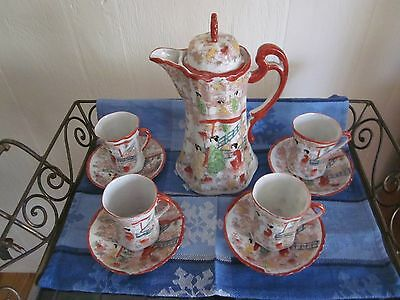 Geisha Girls Hand Painted Red Porcelain Chocolate Pot Set Rare Antique 1920s