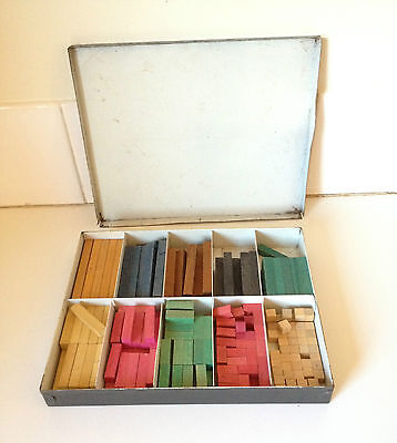 Vintage Cuisenaire Teachers Master Set In Metal Box Retro Maths System Steiner