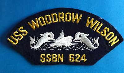 Vintage 1960's US Navy USS Woodrow Wilson SSBN 624 Jacket Hat Iron On Patch 027