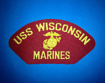 Vintage 1990's US Marine Corps USS Wisconsin Iron On Jacket Hat Patch Crest 141