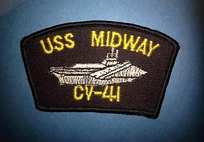 Vintage US Navy USS Midway CV-41 Aircraft Carrier Jacket Hat Patch Crest 002