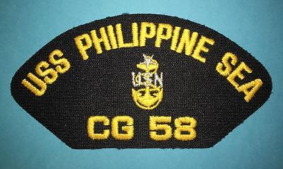 Vintage US Navy USS Phillippine Sea CG 58 Jacket Hat Iron On Patch Crest 006