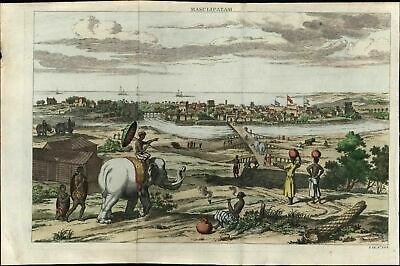 Masulipatam India Machilipatnam Krishna elephants ships dress 1757 antique view
