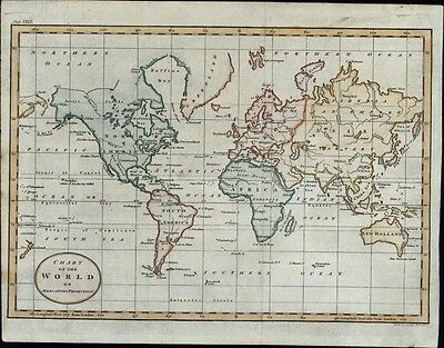 World Map Africa New Holland Tartary Russian Empire 1795 antique hand color map