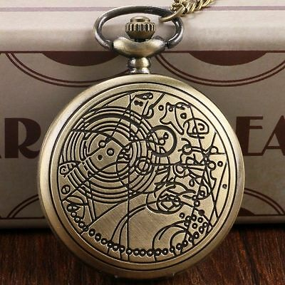 Movie Doctor Who Retro Copper quartz Pocket Watch necklace pendant Timelord UK
