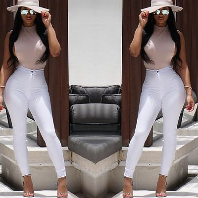 Trousers Skinny Pants Jeans Women's High Waist Stretchy