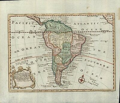 South America continent Peru Terra Firma 1760s rare antique Wheatley map