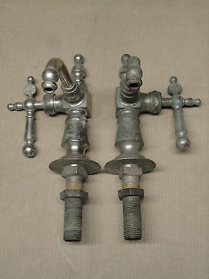 Pair of Nickel Brass Hot Cold Sink Faucets Peck Bros New Haven CT Patented 1880