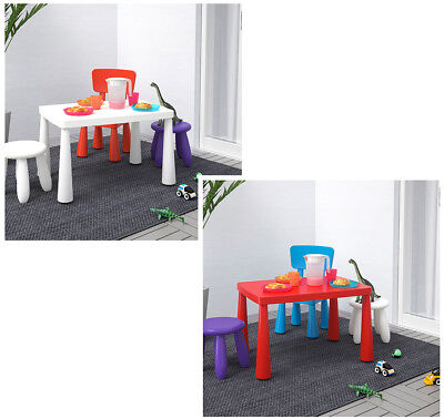 IKEA Kids Children's Indoor Outdoor PINK BLUE Chair Table Stool Furniture MAMMUT