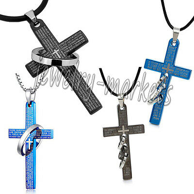 Cross Pendant Necklace Bible Stainless Steel Unisex's Chain Crucifix Men Women