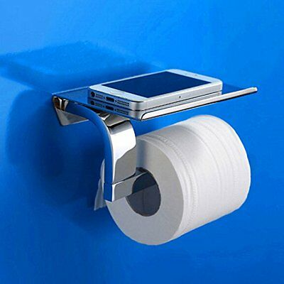 Brass Toilet Paper Holder Shelf Storage Tissue Bar Bath Toilet Phone Holder