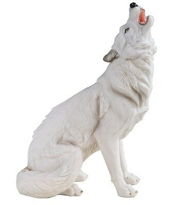 "11"" Snow Wolf Howling Wildlife Animal Collectible Statue Figurine Figure"