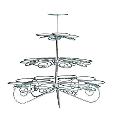 4 Tier Cupcake Stand Silver Wire Hold 23 Cups