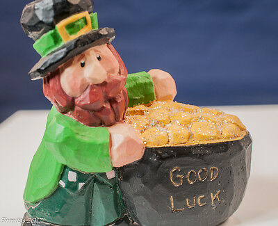 "Collectible Eddie Walker Life's Little Gifts ""Good Luck Leprechaun"" Carving New"