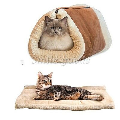 2 in1 Pet Cat Nest Tunnel Fleece Tube Cushion Mat Pad For Puppy Kennel Sleep Pad