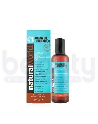 Natural World Moroccan Argan Oil Moisture Rich Hair Treatment Oil 25 & 100ml