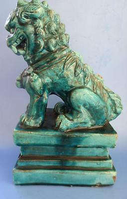 """Antique Chinese Clay Terracotta Foo Lion Temple Dog Large 11"""" Turquoise"""