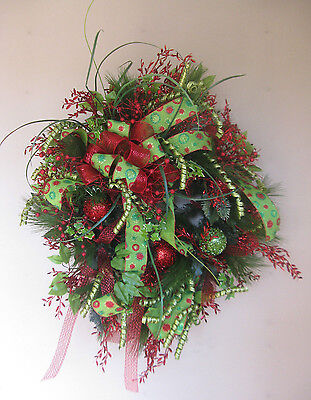 "Christmas Door Wreath 24"" Ladybug NEW Nancy Alexander Glitter"