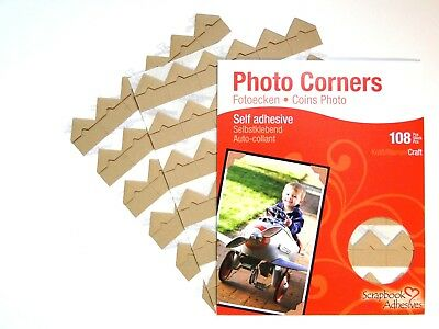 Buff Colour Photo Corners Sticky Self Adhesive Album Acid Free 108 Pieces