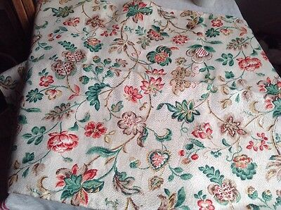 "Vintage French Fabric, Medium Weight Floral Linen 38""x72"" Furnishing Projects"