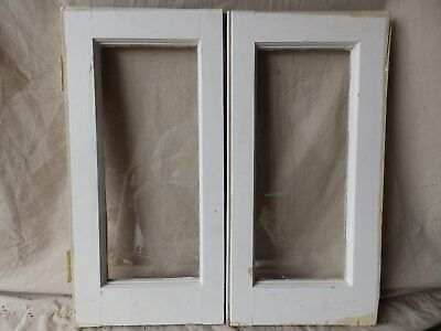 Pair Antique Cabinet Pantry Door Kitchen Cupboard Glass Old Vtg 24x12 237-17R