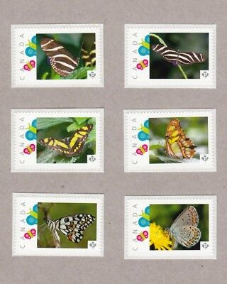 pca. BUTTERFLY Set of 6 UNIQUE picture stamps Canada 2016 MNH [p16/08bt6]