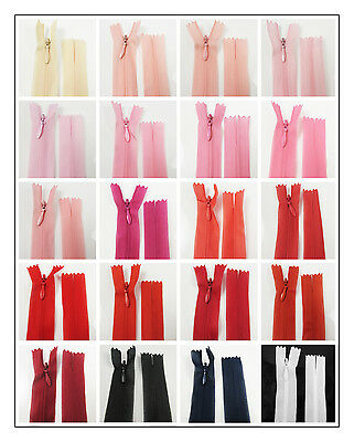"No.3 CONCEALED 5"" - 40"" CLOSED END NYLON ZIPS PEACH PINK RED HABERDASHERY ZIPPER"