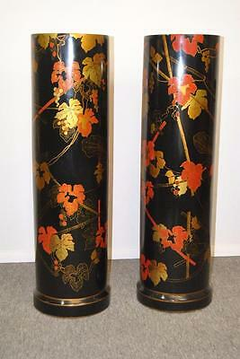 Pair Of Black Lacquered Asian Pedestal Plant Stands Pedestals By Maitland Smith