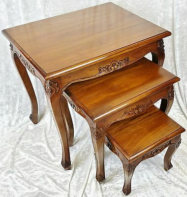 Nest Of New Solid Mahogany Chippendale Style Occasional Tables. Free Delivery
