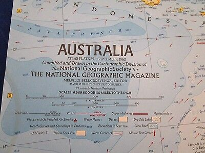 Vintage Map: Australia Sept 1963 National Geographic {3036-6}