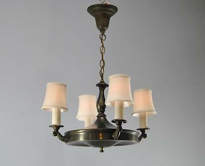 Antique Neo Classic Style 4 Arm Brass Chandelier