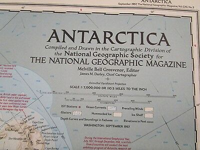 Vintage Map: Antarctica Sept 1957 National Geographic {3028-6}