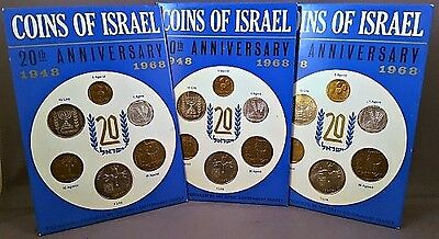 3 Mint 1968 COINS OF ISRAEL 20th ANNIVERSARY OFFICIAL ISRAEL 6 COIN SPECIMEN SET
