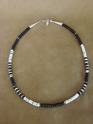 Navajo Indian Hand Strung Shell and Onyx Bead Necklace