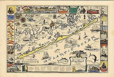 1940 pictorial map romantic Island Long Beach New Jersey colonial history 817200