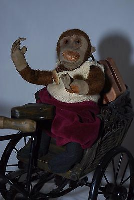 "Decrepit Antique Mechanical Bing 9"" Hopping Toy Mohair Monkey No Key Sold As Is"