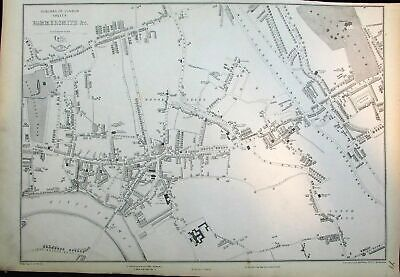 Hammersmith London Thames Holland Park c.1860 antique Weller city plan map